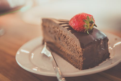 Chocolate Cake on Top of White Ceramic Plate