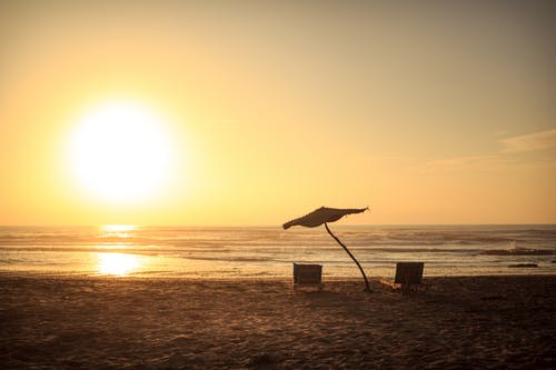 Free stock photo of atmospheric evening, beach, beach chairs