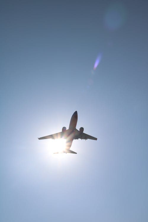 Free stock photo of airplane, blue sky, sun