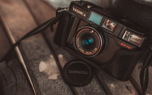 Close-up of Black Yashica Mirrorless Camera