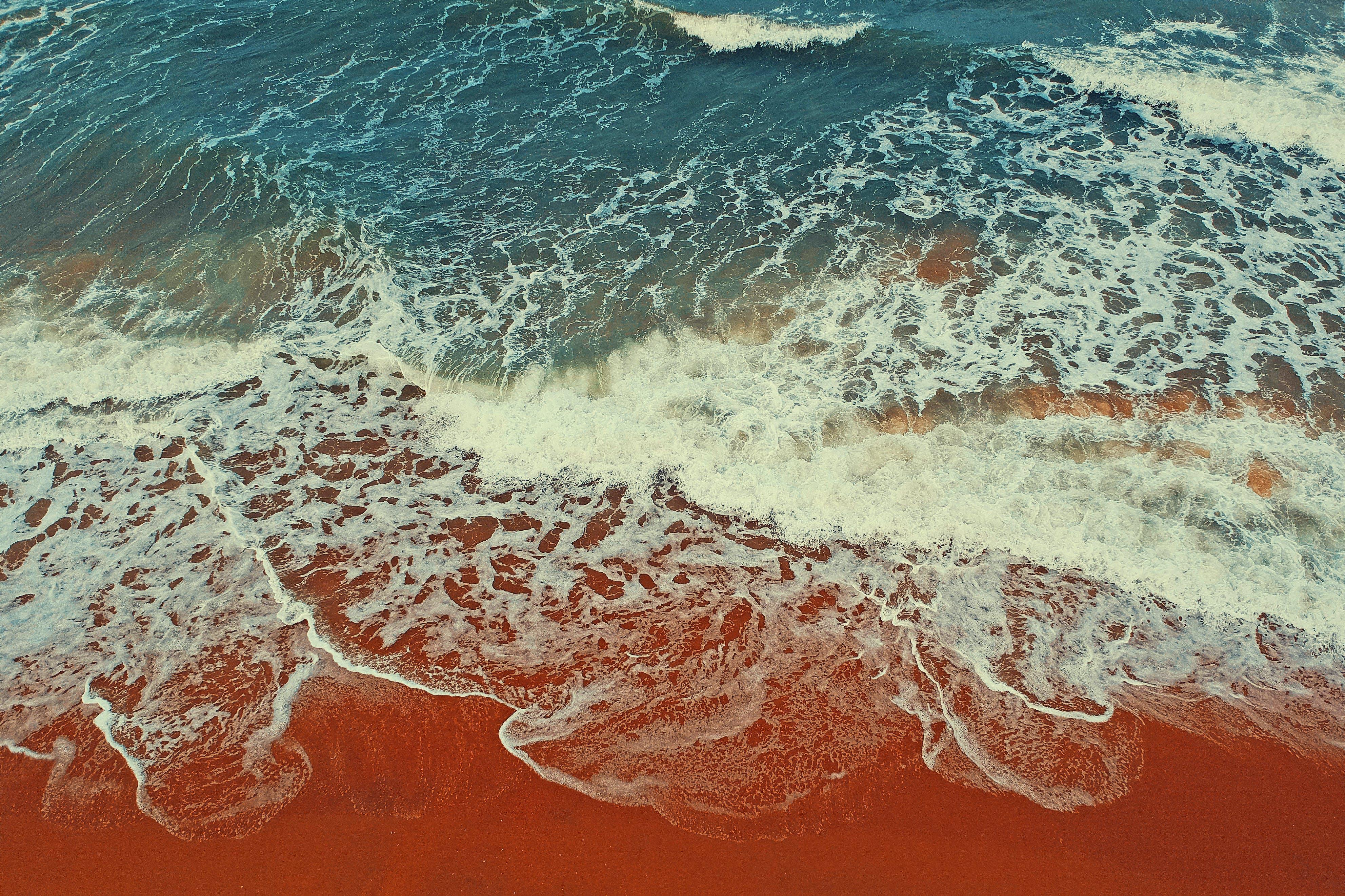 Waves Rushed on Shoreline