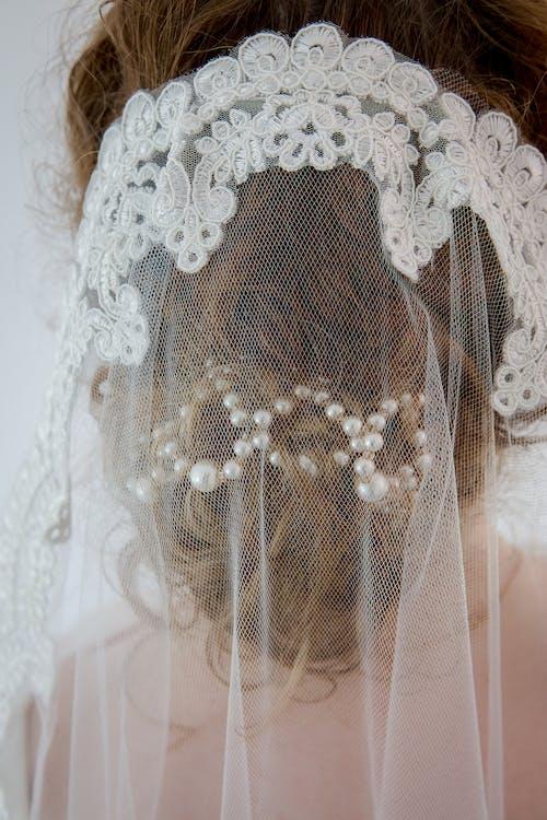 Bride Wearing White Floral Veil