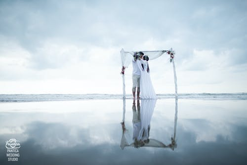 Free stock photo of beach, couple, sea, wedding