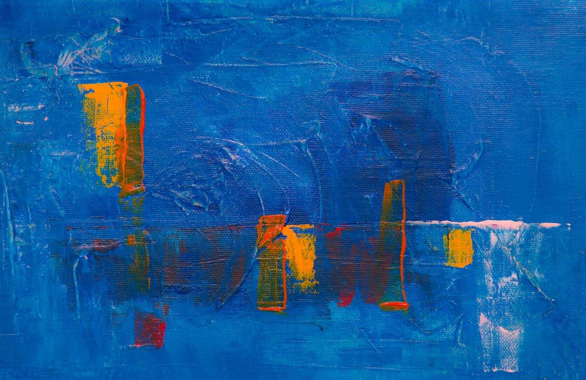abstrakti maalaus, kanvaasi, kirkas väri