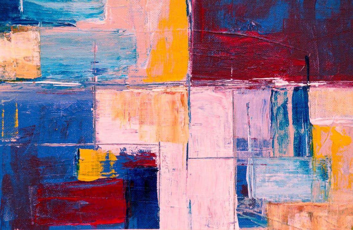 abstrakt målning, design, duk