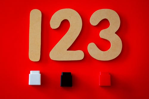 123 Cutout Decor on Red Surface