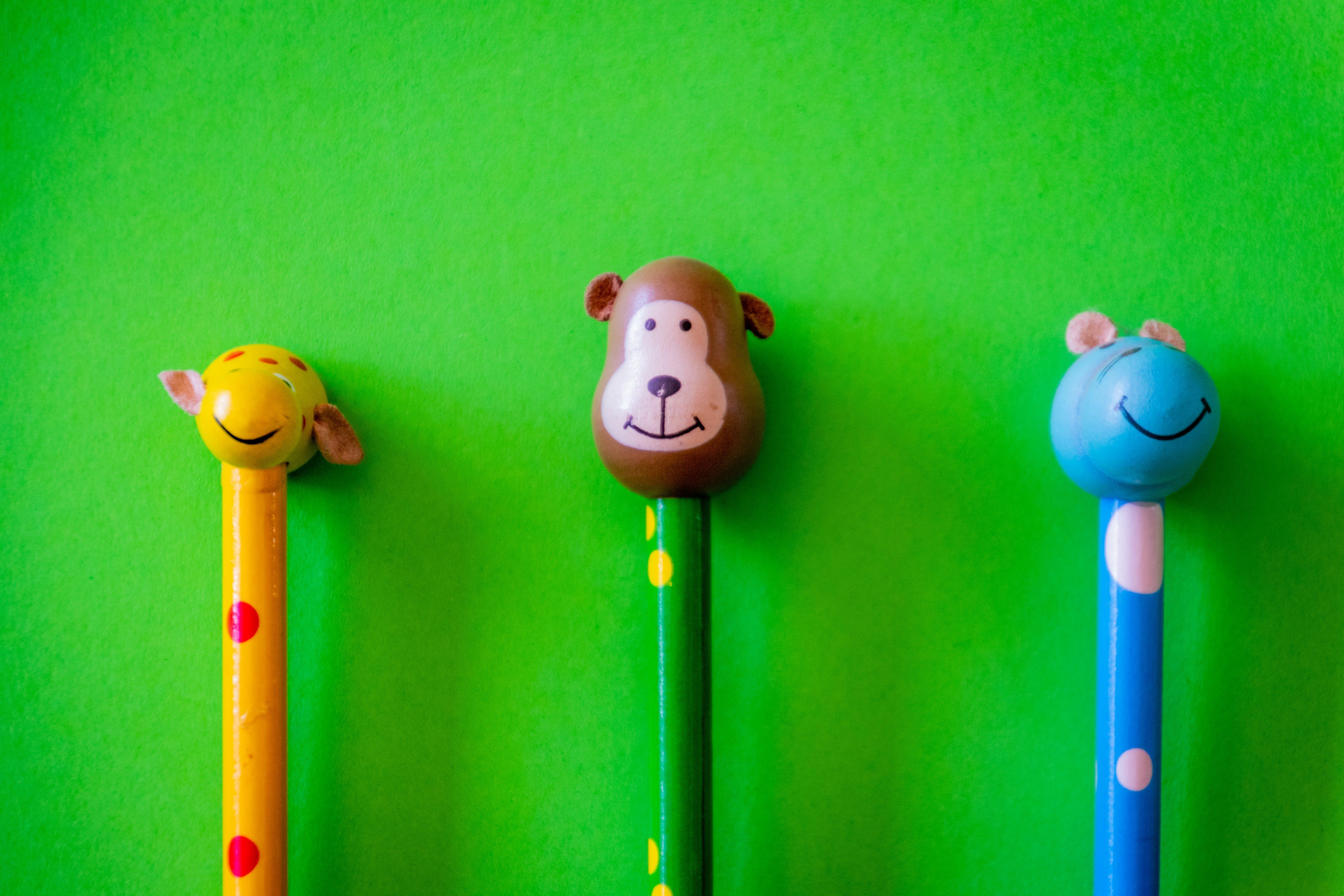 Three Animal Head Pencils