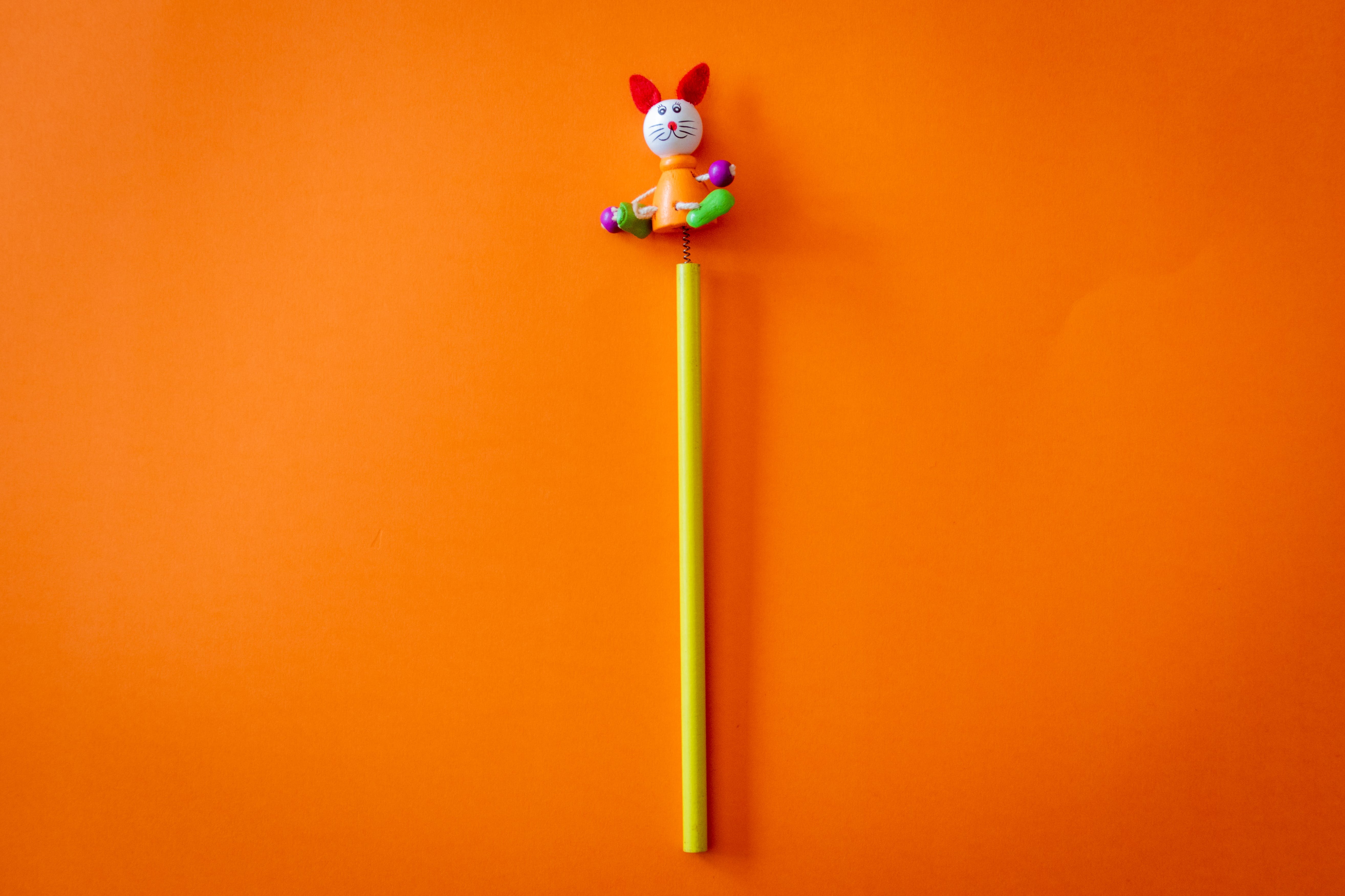 Yellow and Multicolored Animal Toy on Orange Surface
