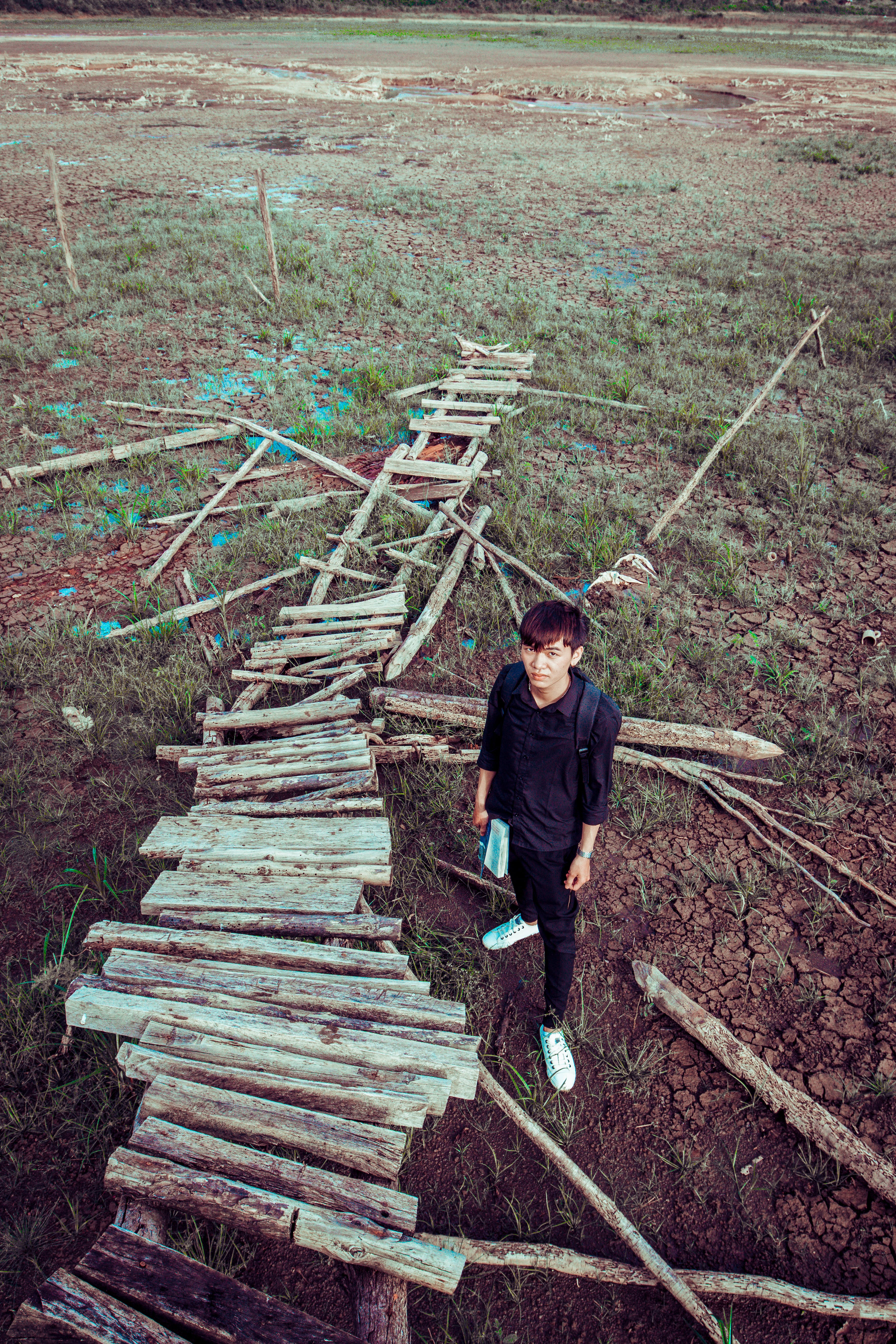 Free stock photo of man, field, bridge, travel
