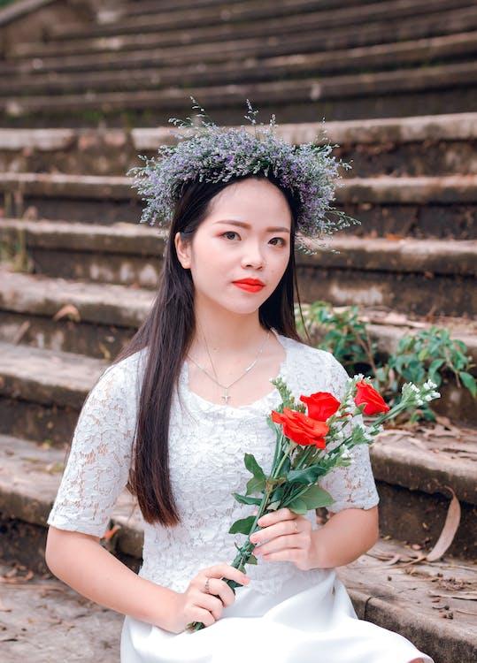asiàtica, bonic, cabell
