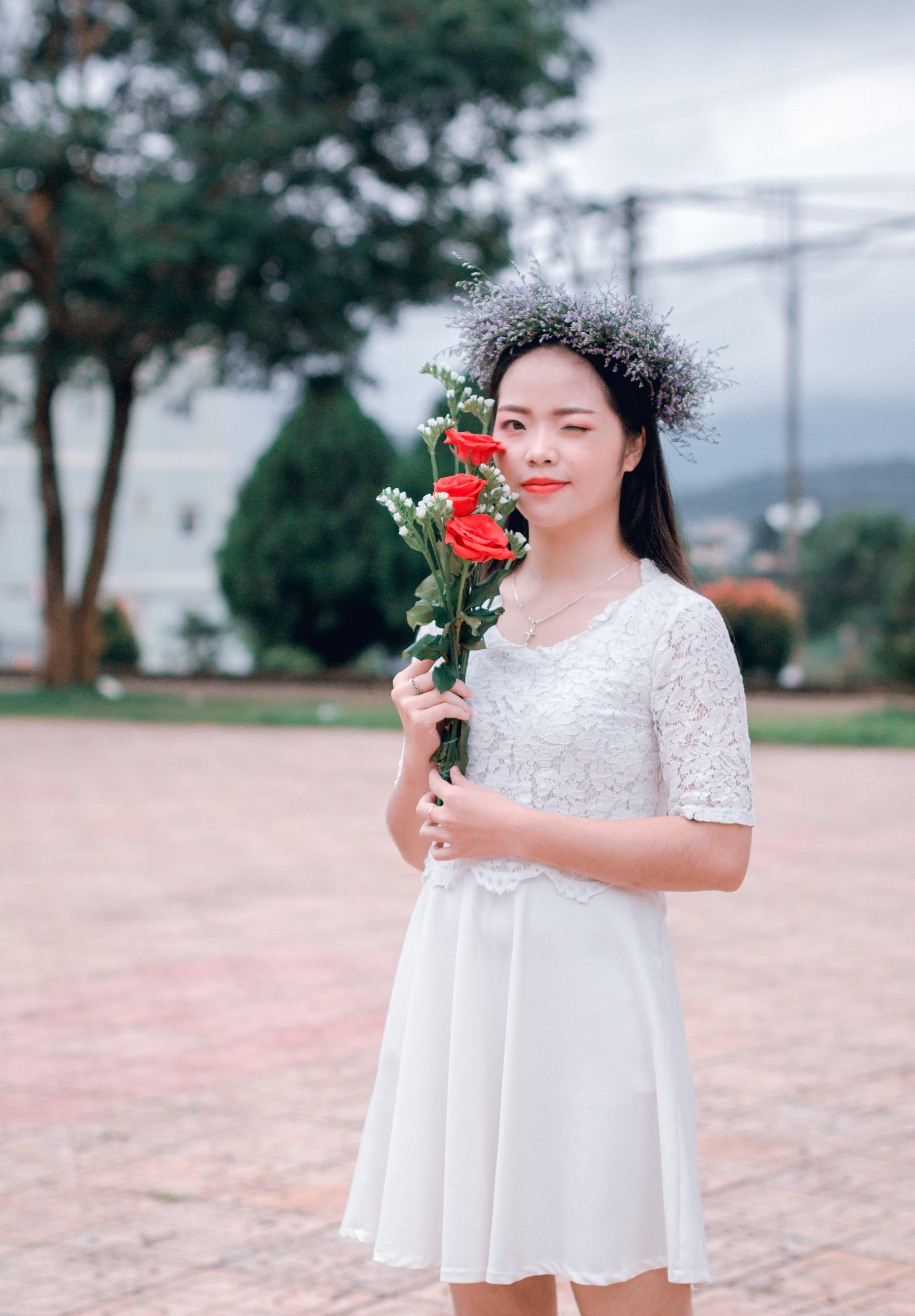 Free stock photo of girl, dress, flower, rose