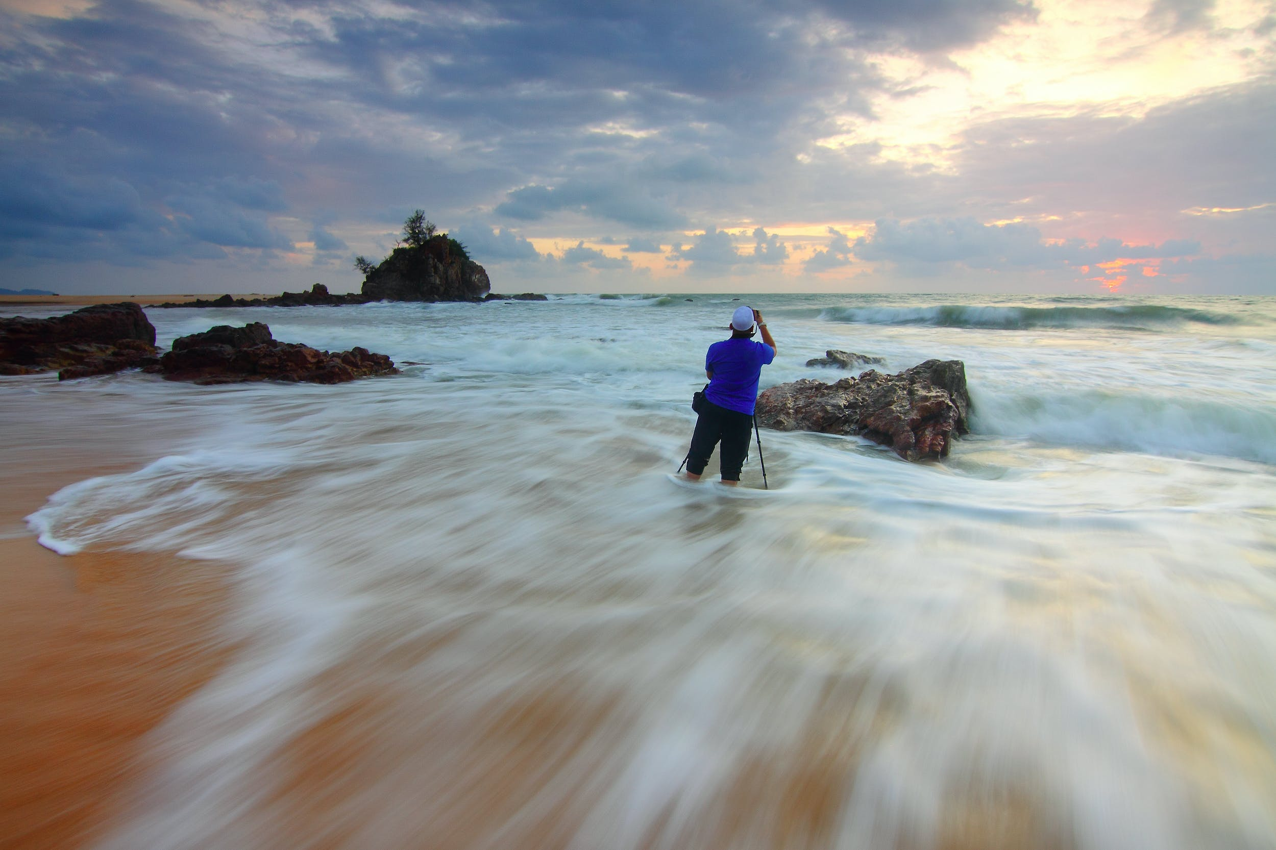 Timelapse Photography of Seashore With Sea Wave during Golden Hour