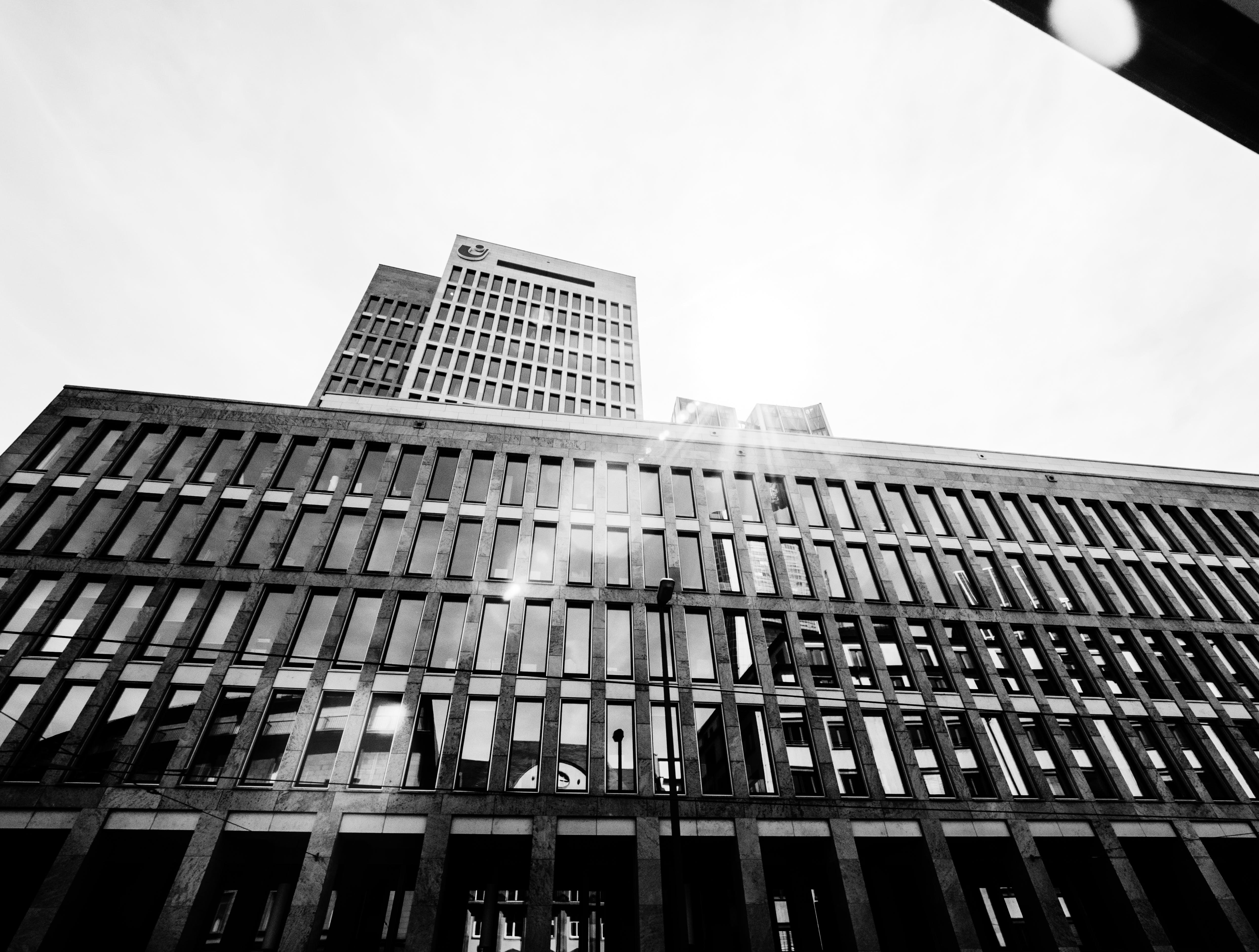 Free stock photo of sunshine, building, lens flare, windows