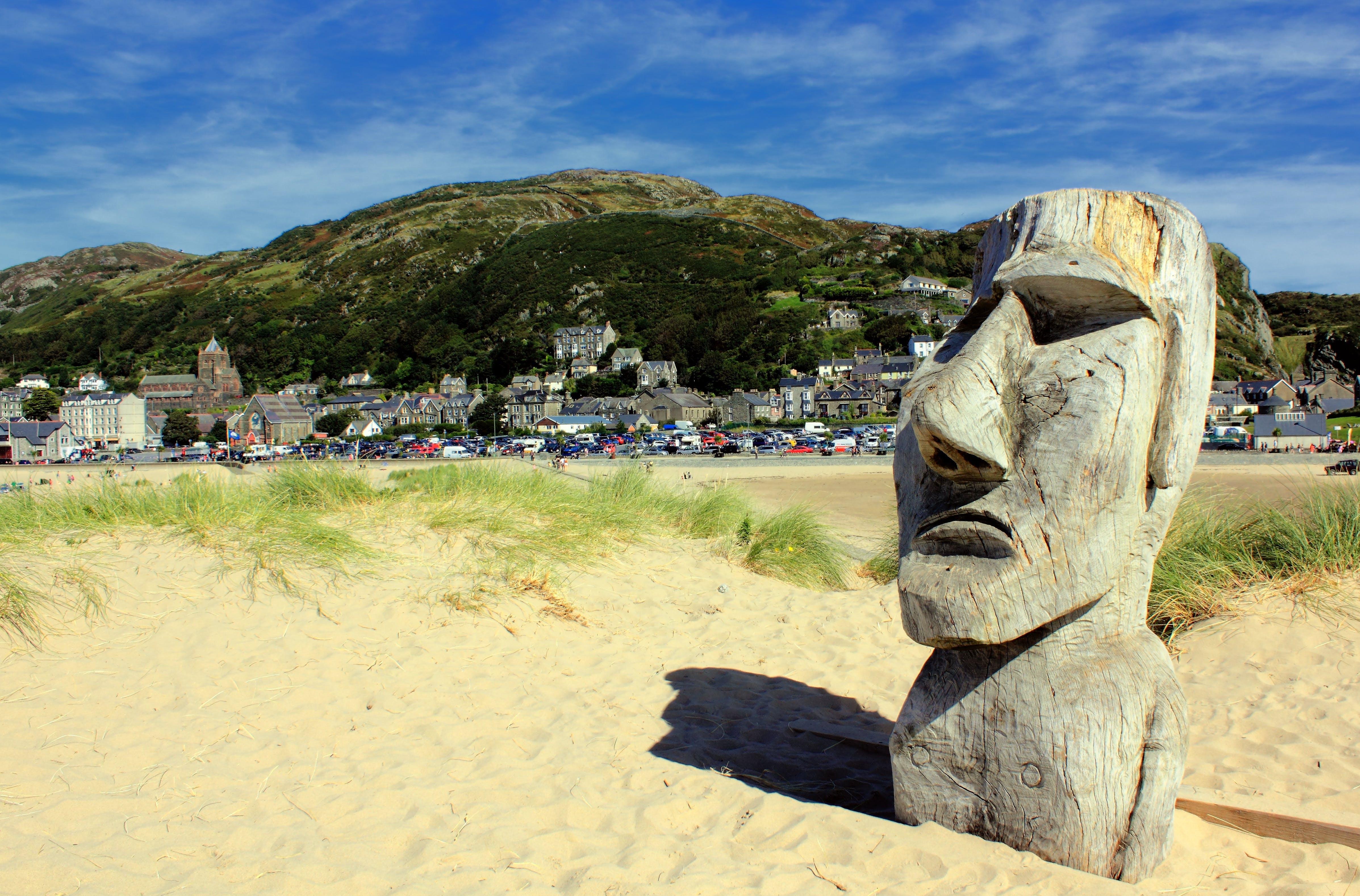 Gray Wooden Moai Statue on Sand