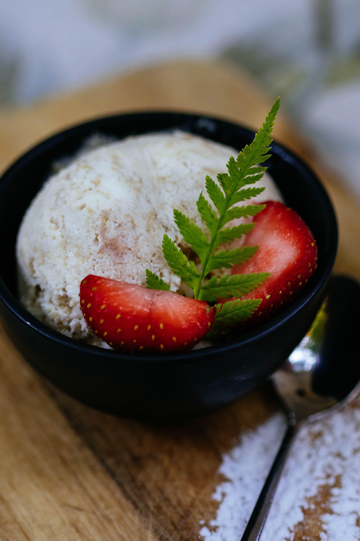 Slice of Strawberry on Icecream in Bowl