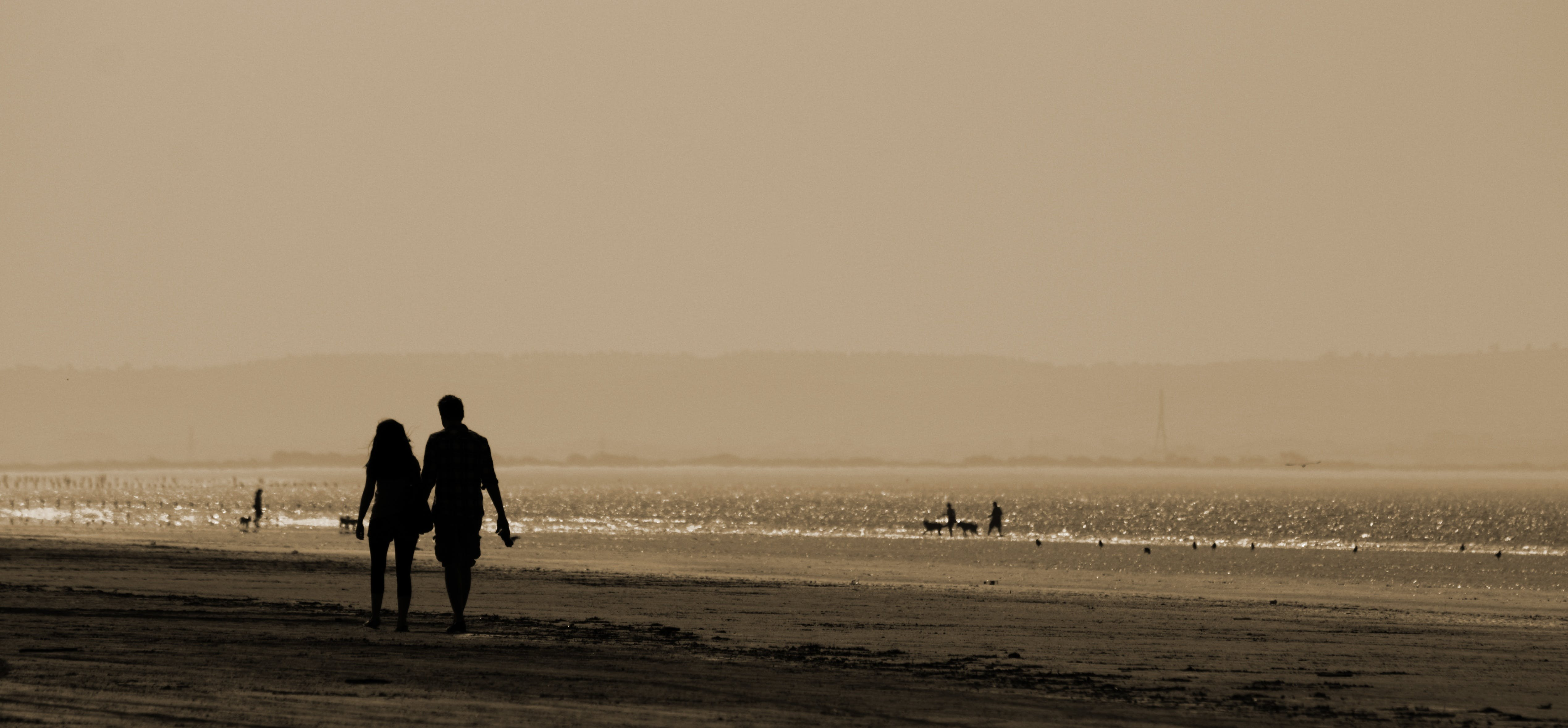 Silhouette Man and Woman Walking Near Sea