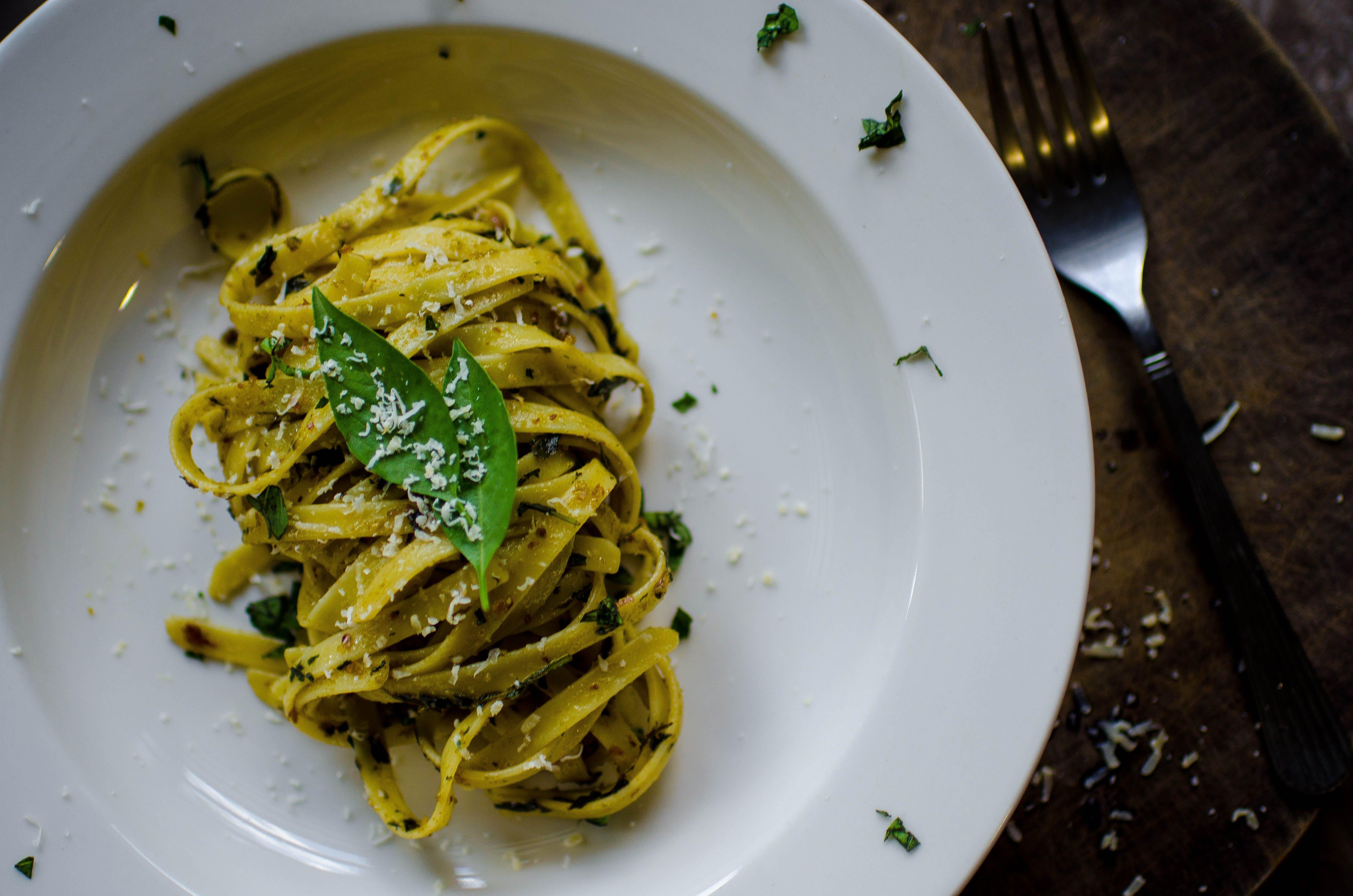 Free stock photo of food, fork, plate, spaghetti