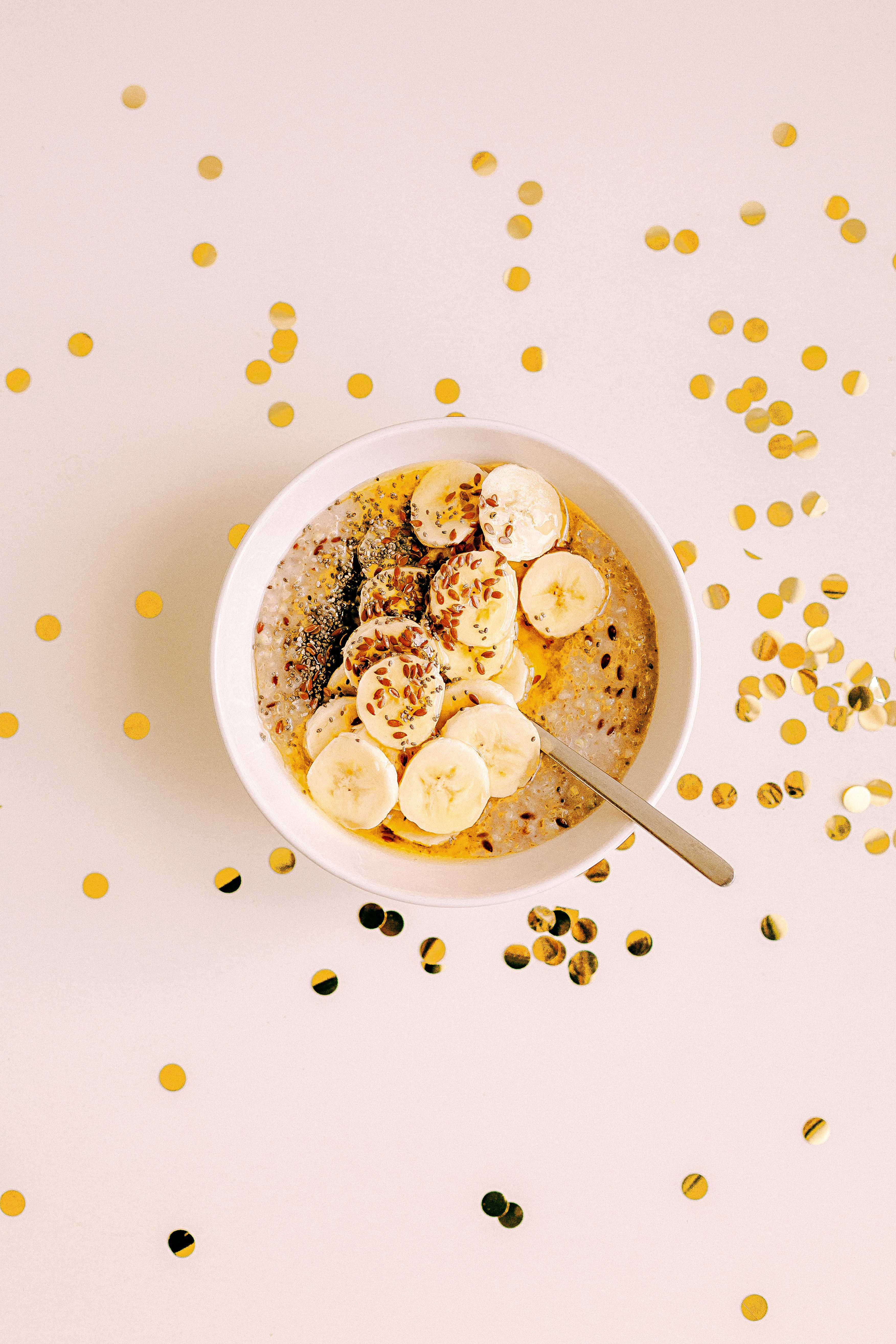 Bowl of Sliced Bananas With Rice Crispies