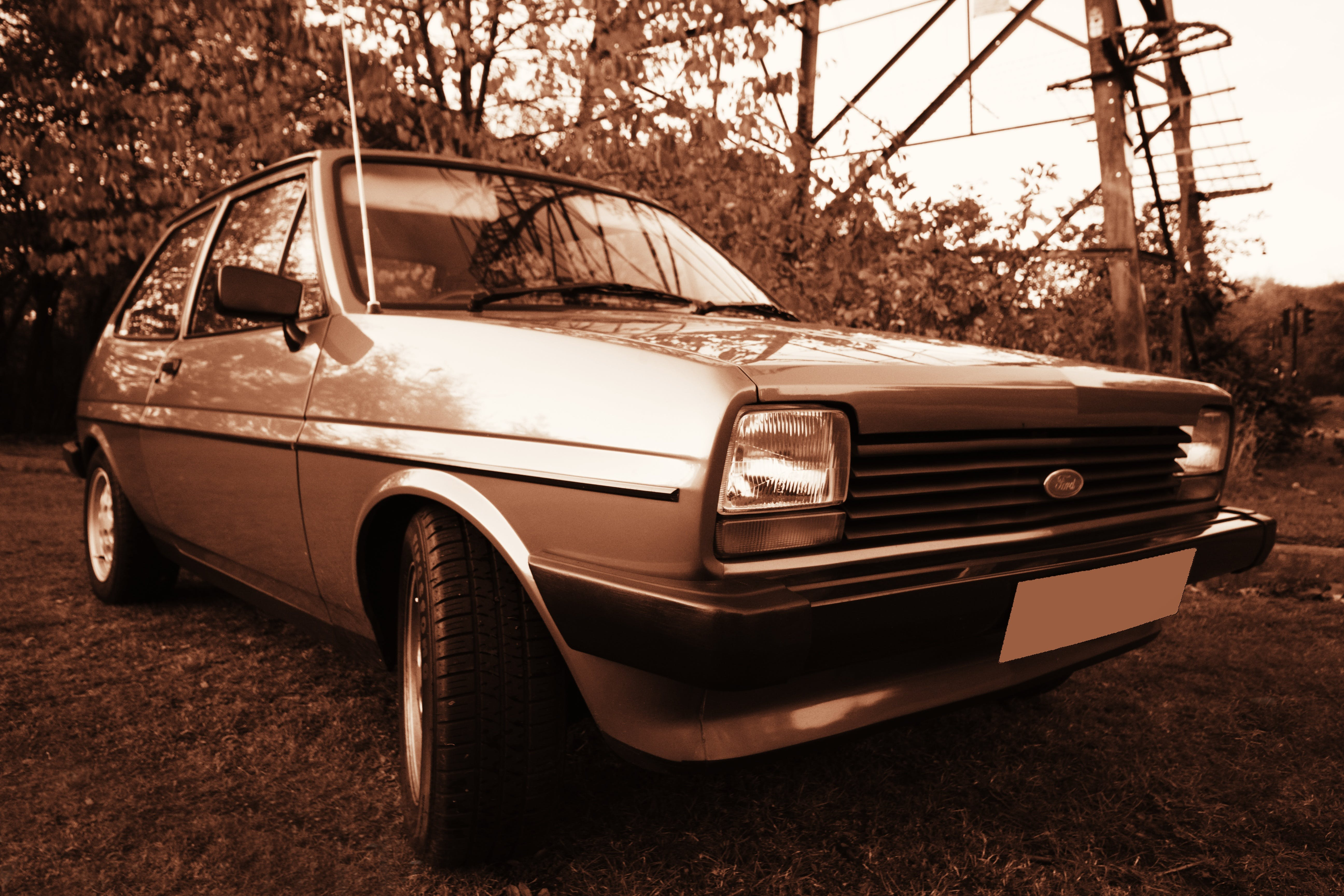 Kostenloses Stock Foto zu altes auto, auto, automobil, bäume