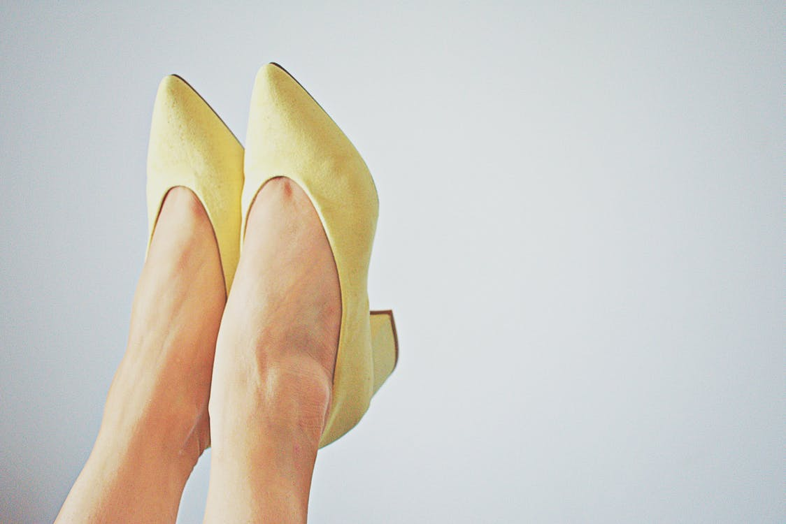 Pair Of Women's Yellow Pointed-toe Flats