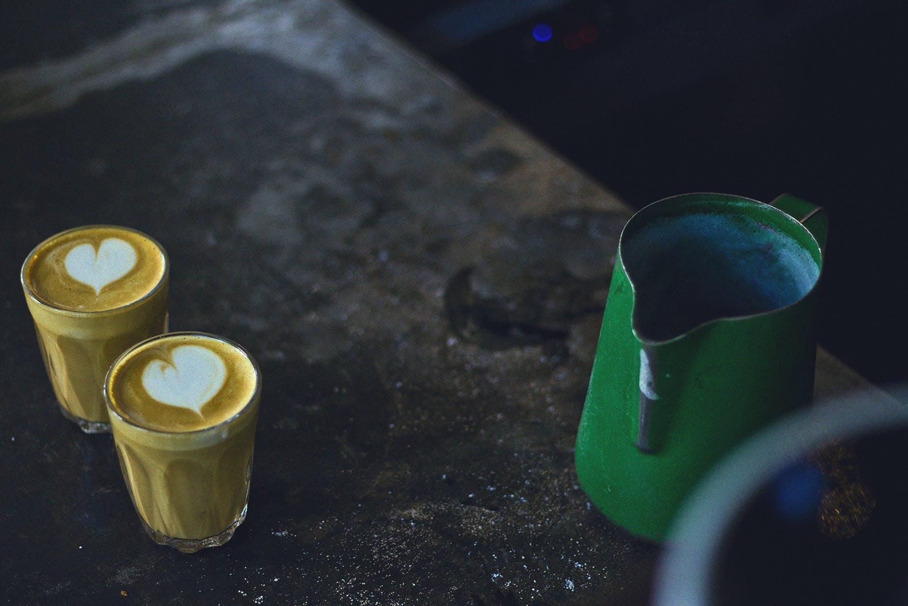 Free stock photo of bench, coffee, café, milk