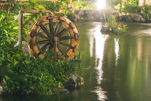 Brown Water Wheel Near Body Of Water