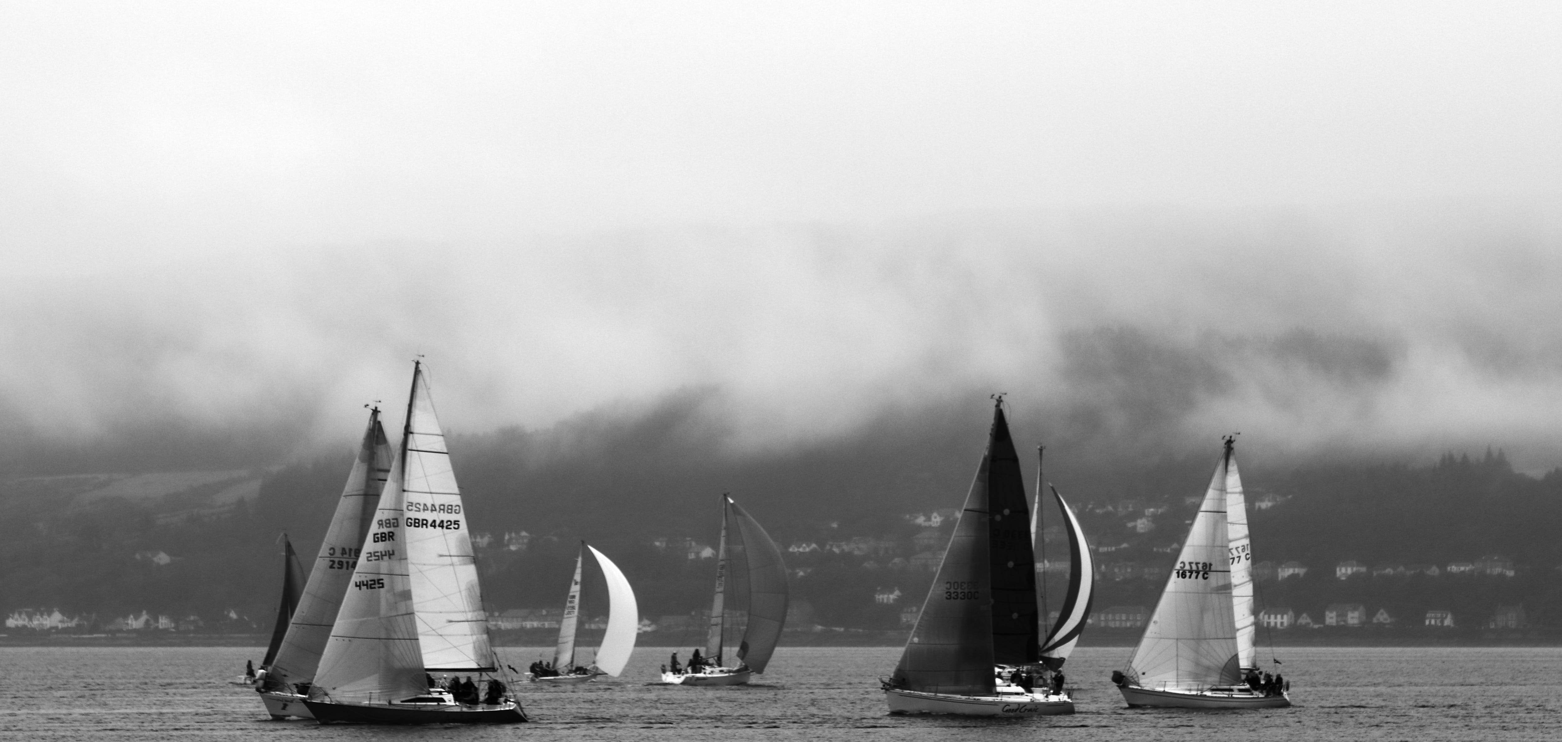 Grayscale Photo of Sailboats