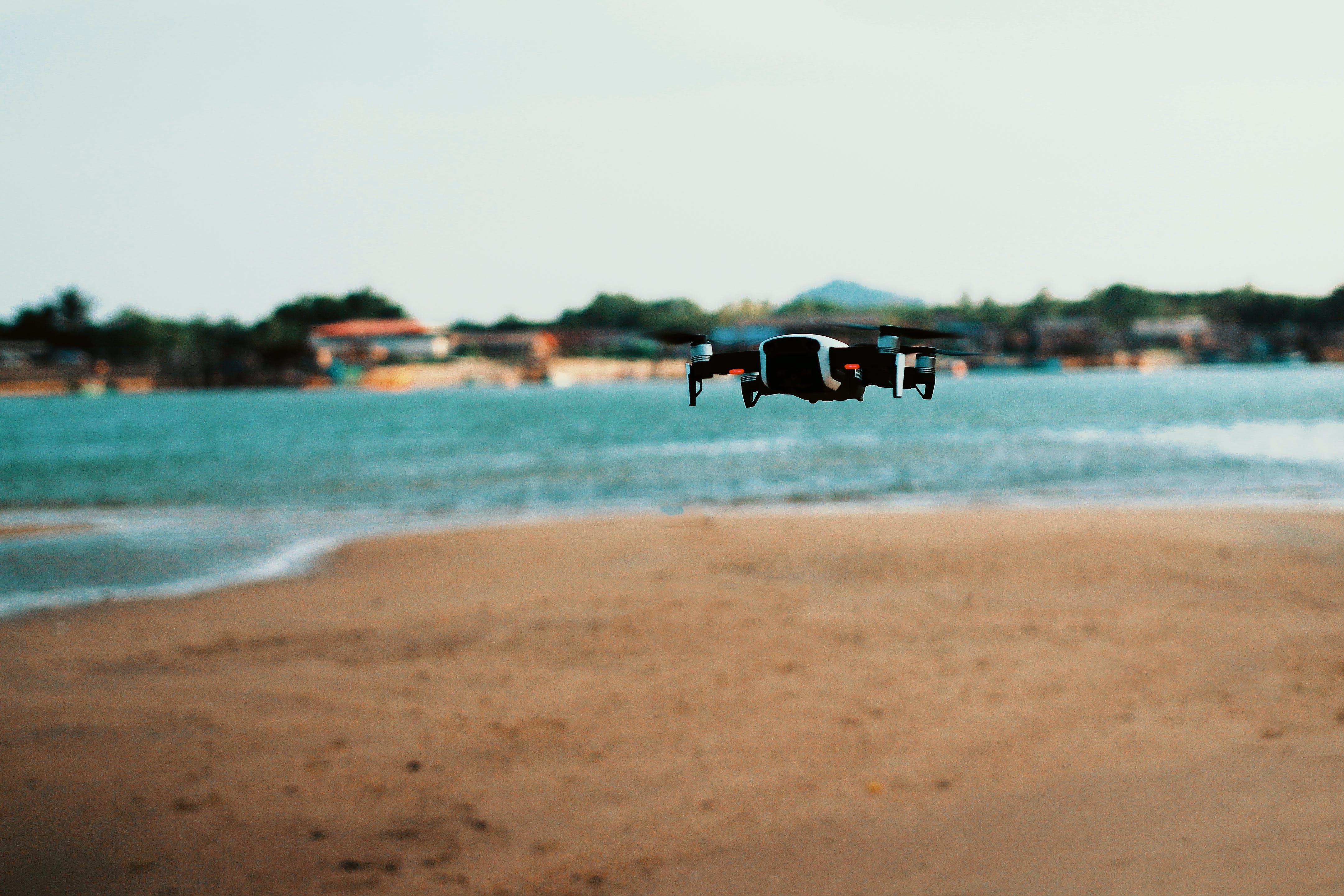 Black Quadcopter Drone On Flight
