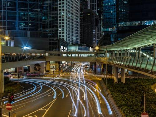 交通, 光迹, 城市, 市中心 的 免费素材图片
