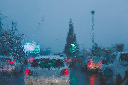 Kostnadsfri bild av grönt ljus, oljefärg, regnar