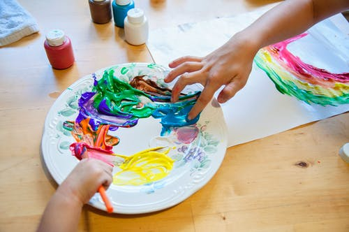 Free stock photo of arts and crafts, children, color palette, fingerpaint