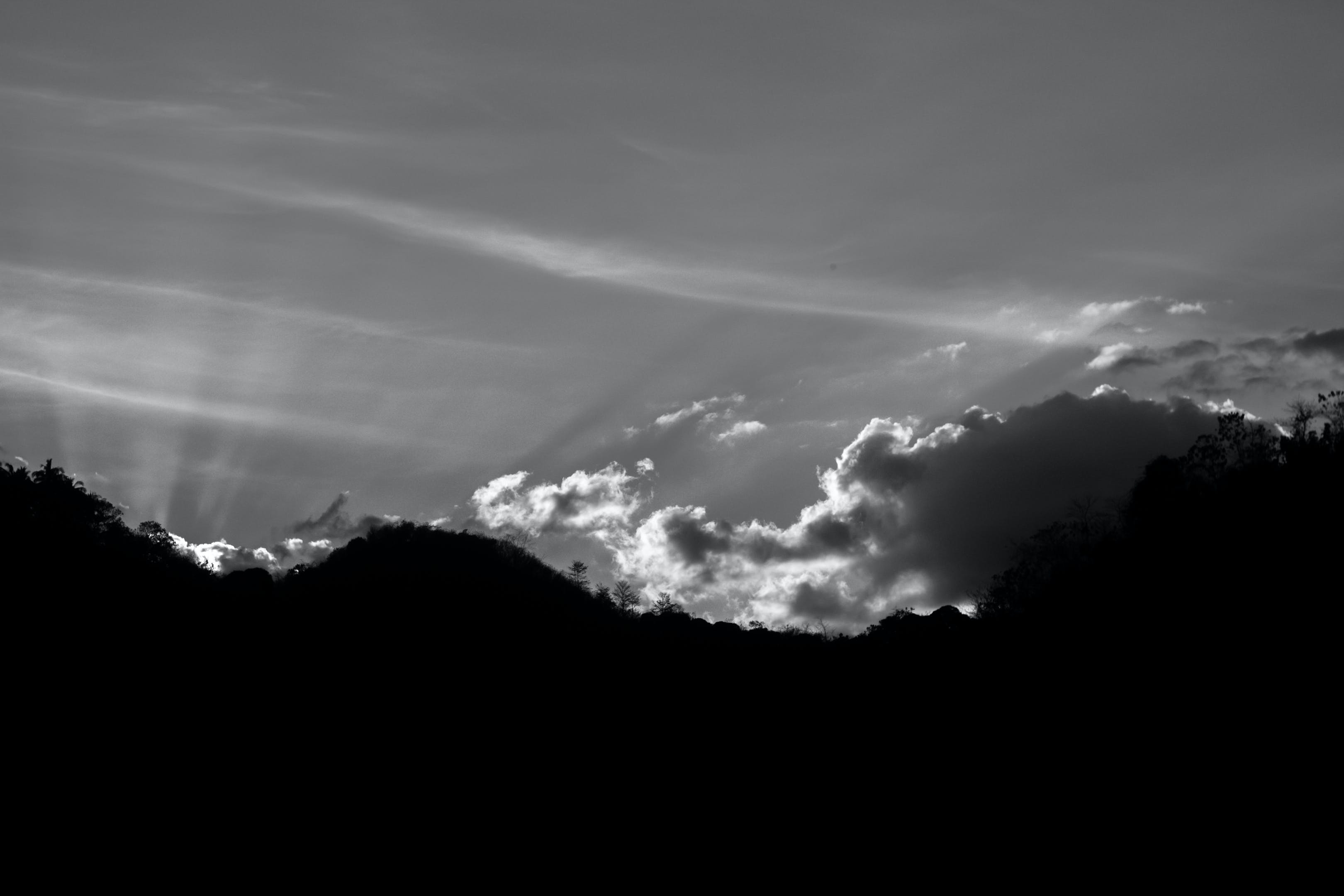 black-and-white, clouds, mountains