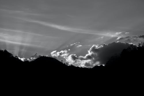 Free stock photo of black-and-white, clouds, mountains