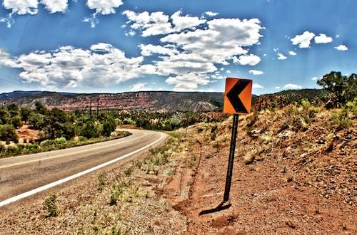 Free stock photo of arrow, curvy road, hdr
