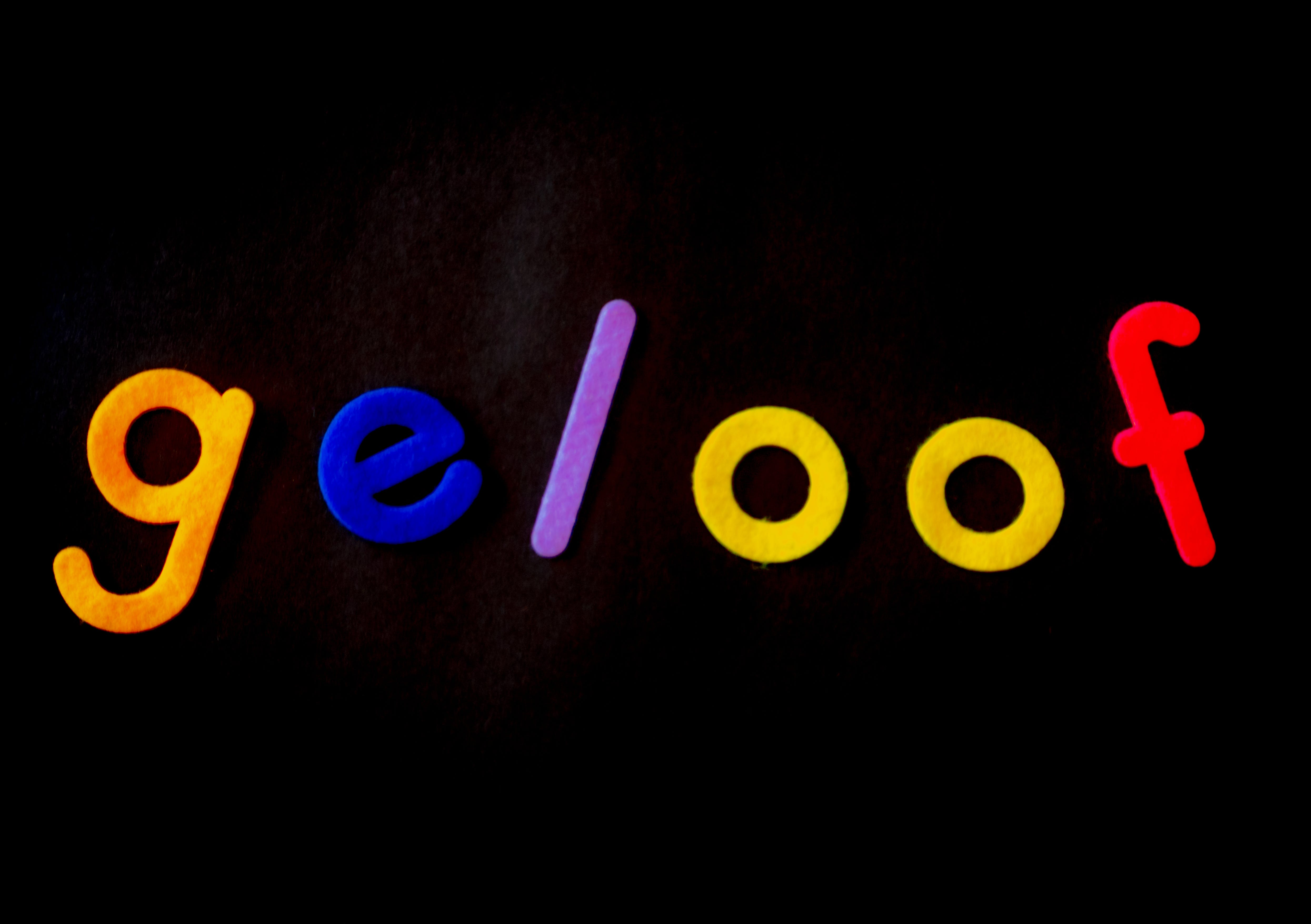 Multicolored Geloof Text