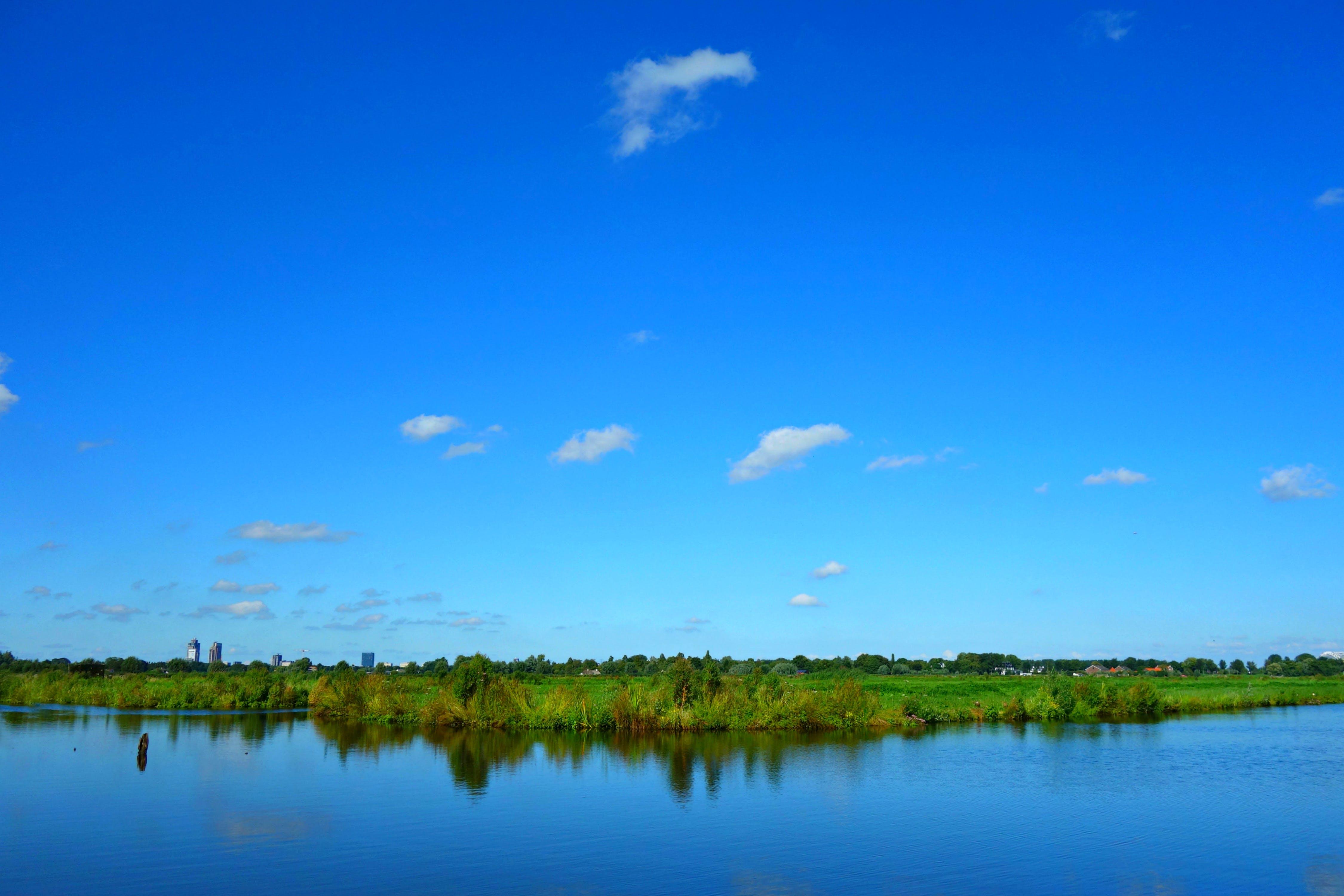 of blue sky, blue water, Dutch landscape, Holland