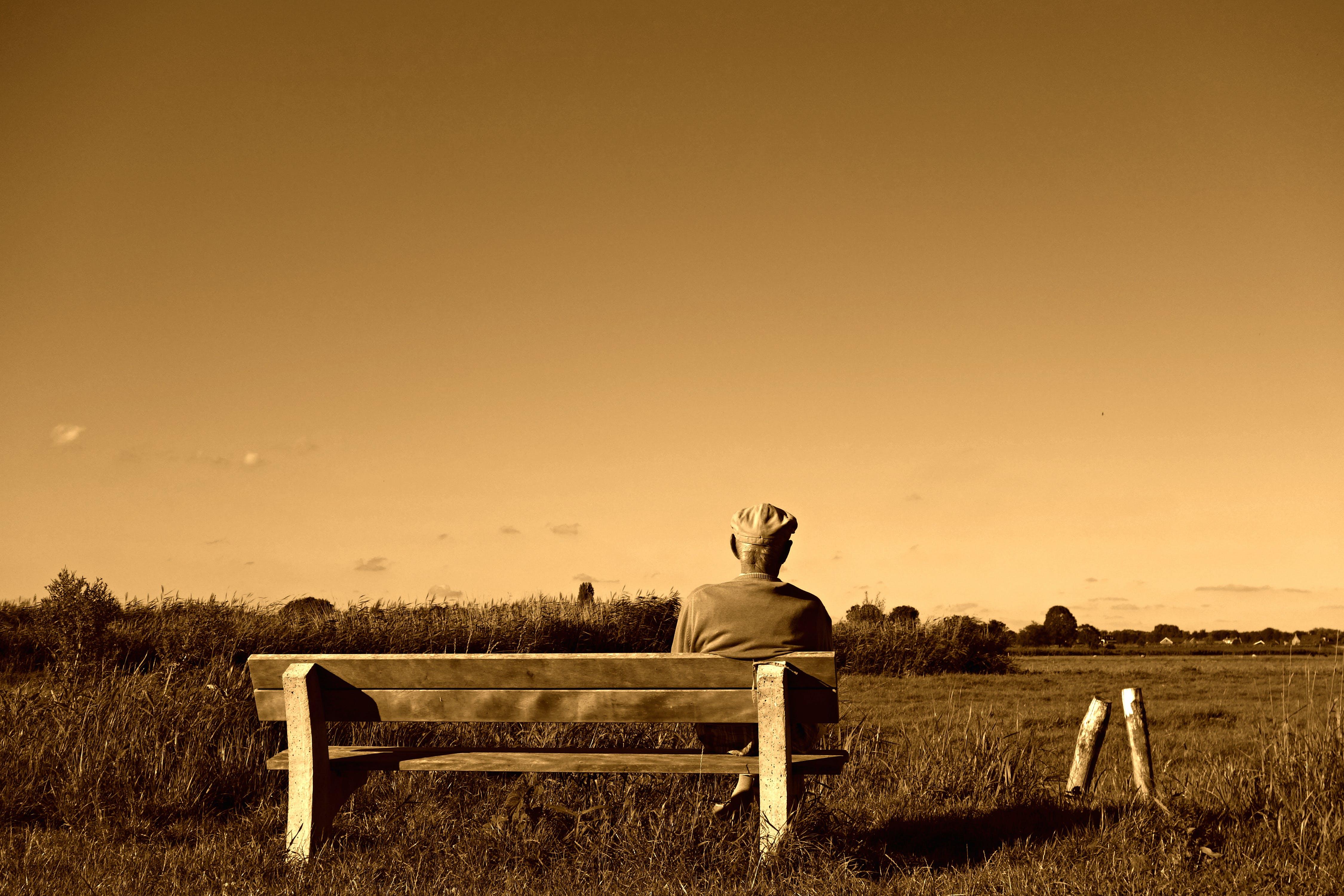 of bench, elderly, man, old man
