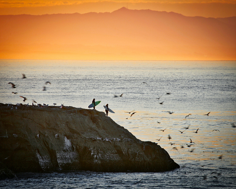 Kostenloses Stock Foto zu dampfer-lane, sonnenaufgang, sonnenaufgangssurfer, surfermädchen