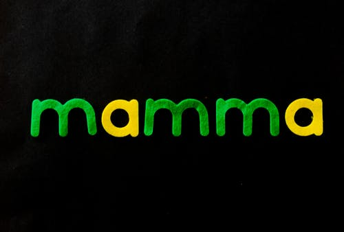 Black Background With Mamma Text Overlay