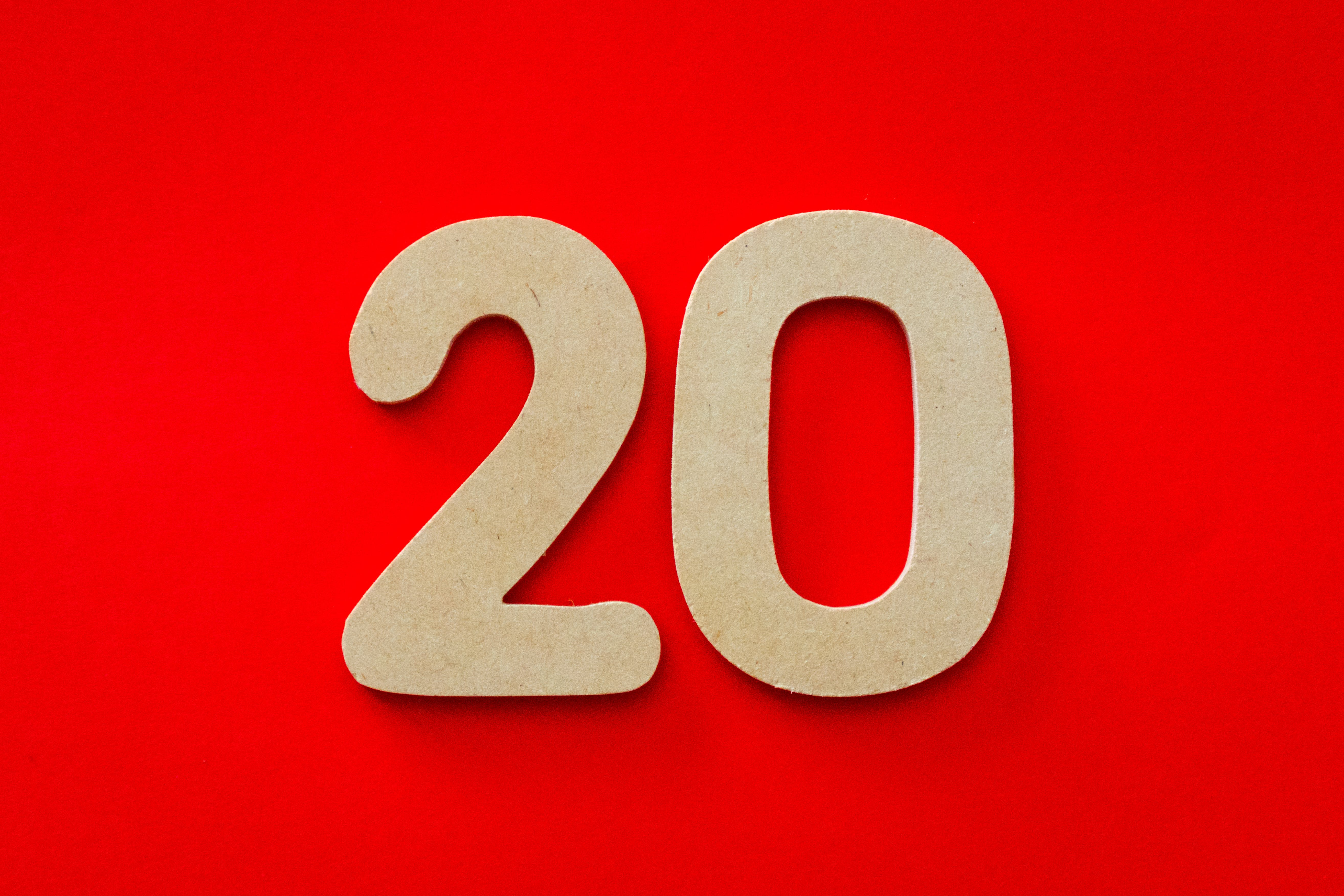 20 Number on Red Background