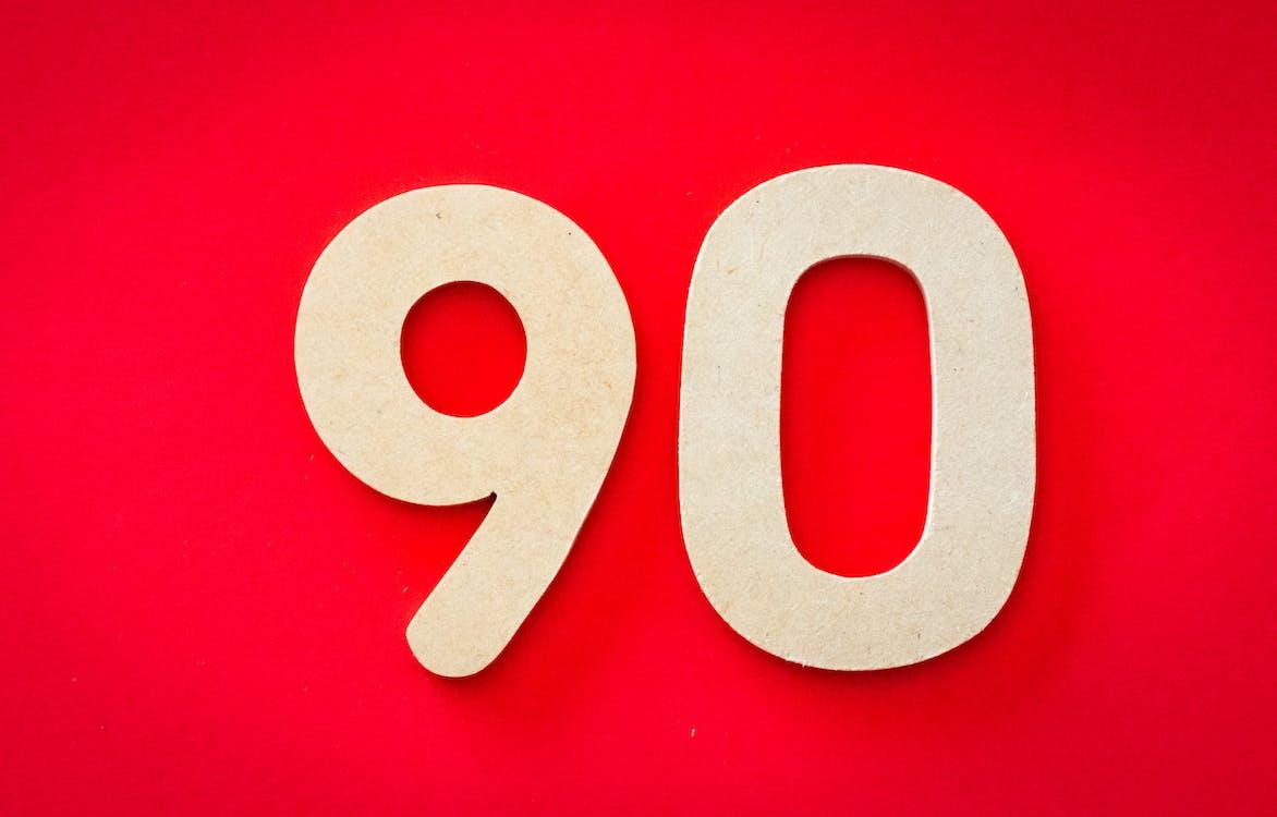 90, adskilt, antal