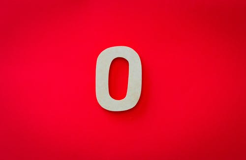 0 Number on Red Surface