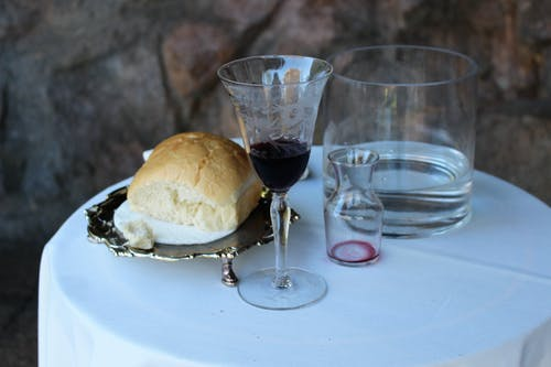 Free stock photo of bread, glass of wine