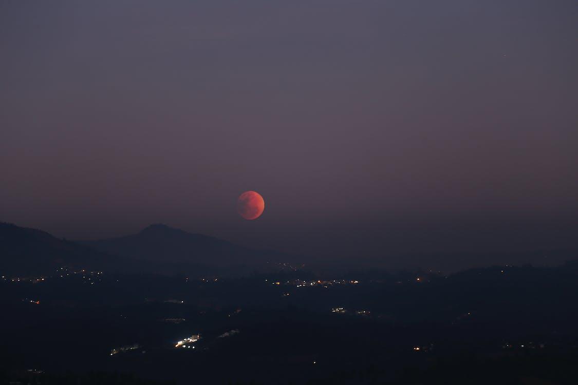 aften, bjerge, formørkelse