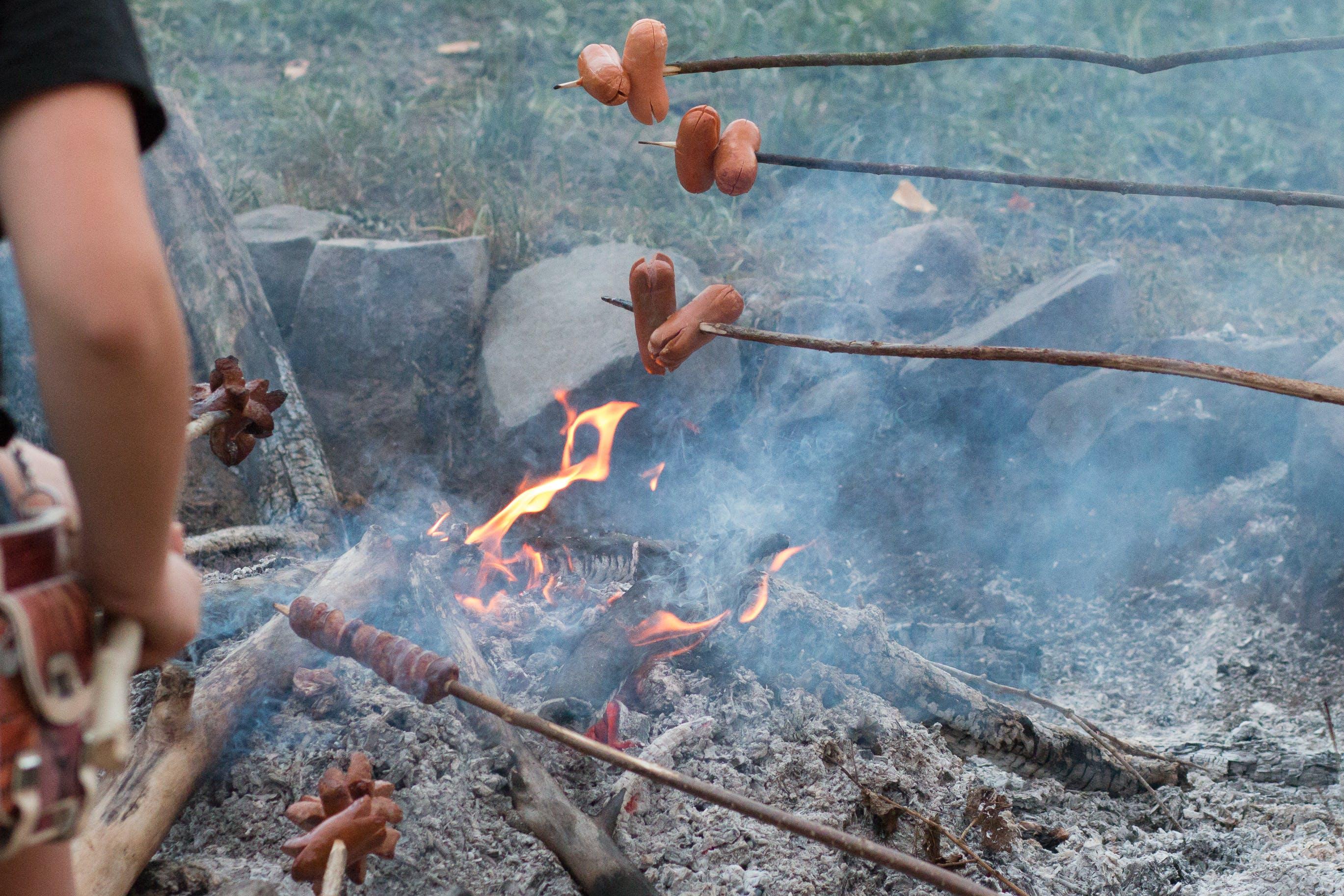 Free stock photo of baking on fire, baking sausage