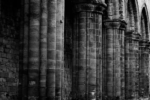 Free stock photo of abbey, ancient, black and white, bricks