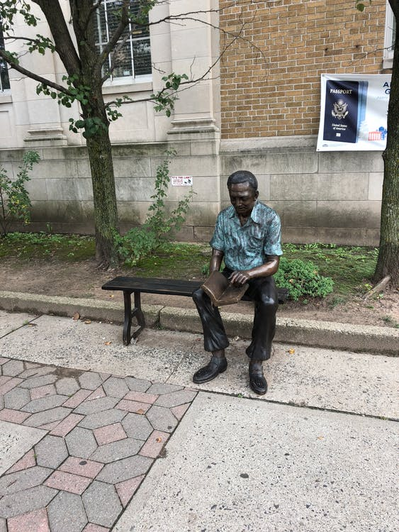 Free stock photo of Statue Bayonne statues man on bench