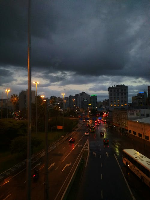 Free stock photo of cars, city lights, clouds, light
