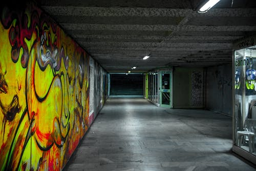 Free stock photo of empty, graffiti, lights, night
