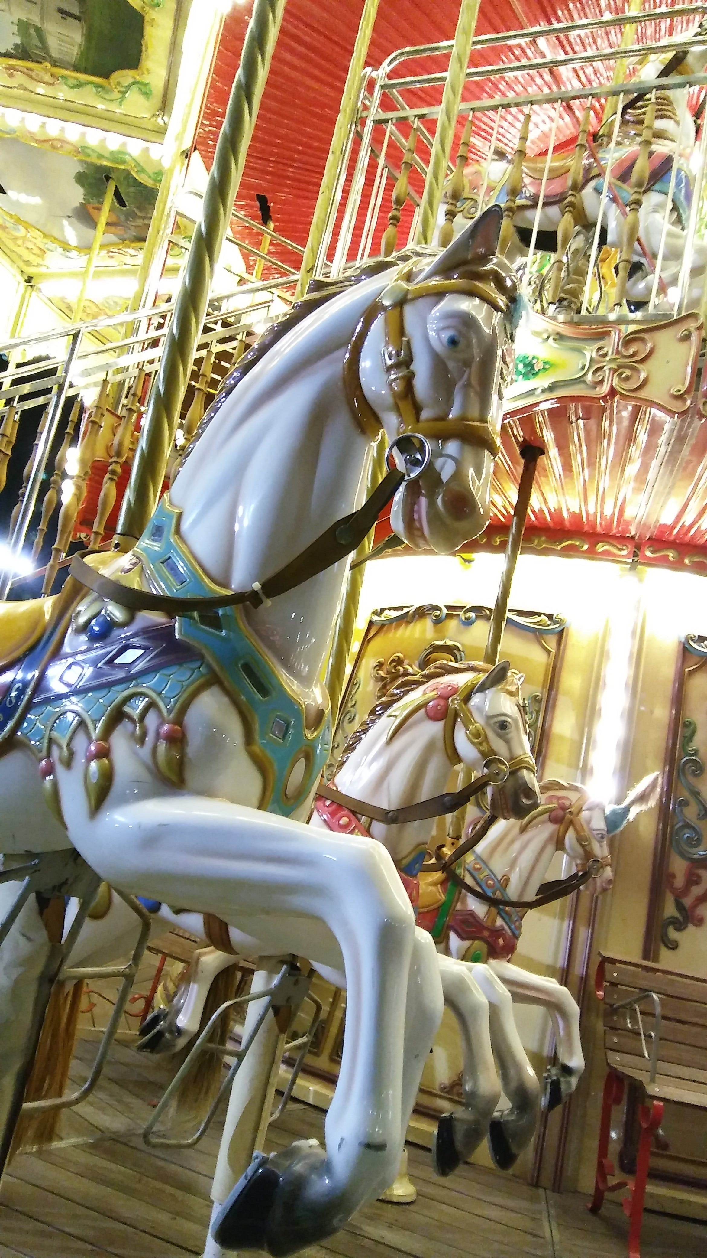 Photos gratuites de carrousel, cheval, cheval blanc, fête foraine
